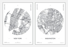 Travel Poster, Urban Street Plan City Map New York And Washington, Vector Illustration
