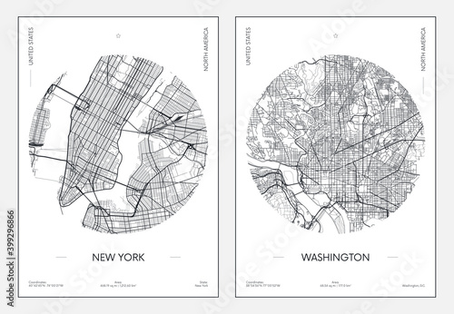 Foto Travel poster, urban street plan city map New York and Washington, vector illust