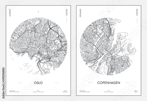 Photo Travel poster, urban street plan city map Oslo and Copenhagen, vector illustrati