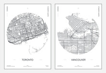 Travel Poster, Urban Street Plan City Map Toronto And Vancouver, Vector Illustration