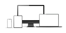 Set Of Realistic Monitor, Laptop, Tablet, Phone On A White Background. Collection Realistic Devices In A Imac, Macbook, Ipad, Iphone Style