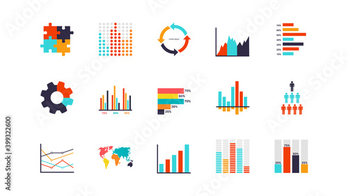 Infographics analysis chart. Modern presentation diagram objects, analytics workflow visualization, timeline and flowchart elements collection, structure progress and process vector set