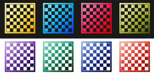 Set Chess Board Icon Isolated On Black And White Background. Ancient Intellectual Board Game. Vector.