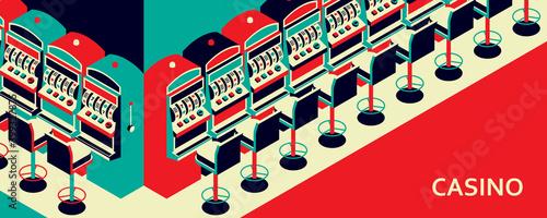 Casino slot machine in isometric flat style Fototapet