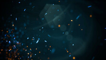 Motion And Fly Blue Particles On Cinematic Background With Grunge Texture