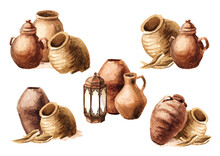 Old Ceramic Jugs And Pots Set. Hand Drawn Watercolor Illustration, Isolated On White Background