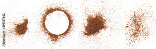 Fototapeta Set pile cinnamon powder isolated on white background and texture, with top view obraz