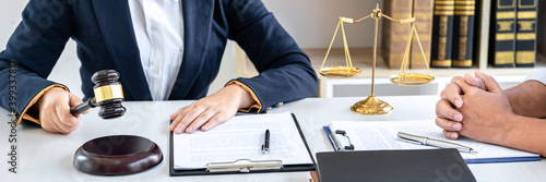 Valokuvatapetti Consultation and conference of female lawyers and professional businesswoman working and discussion having at law firm in office