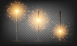 Christmas New Year bengal light set. Realistic golden sparkler lights isolated on transparent background. Festive bright fireworks. Fun decorations for celebrations and holidays, Vector illustration.