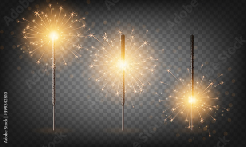 Fototapeta Christmas New Year bengal light set. Realistic golden sparkler lights isolated on transparent background. Festive bright fireworks. Fun decorations for celebrations and holidays, Vector illustration. obraz