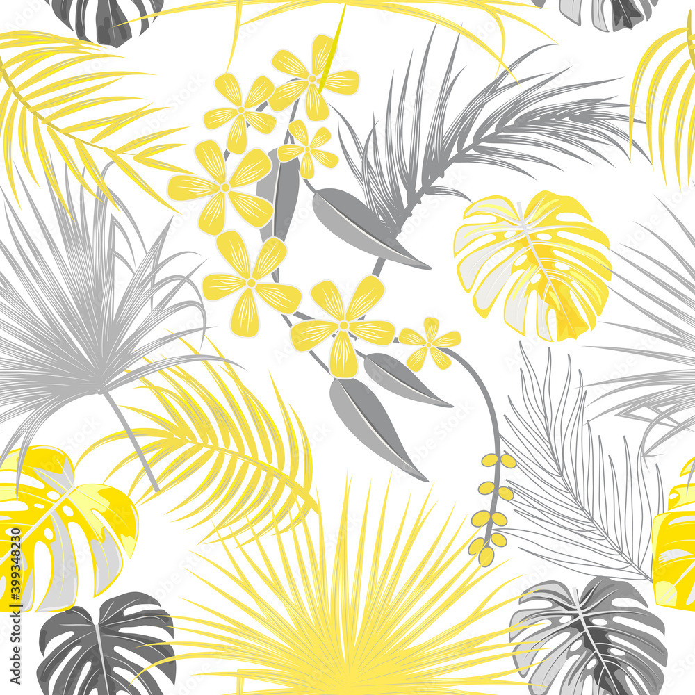Fototapeta Seamless pattern of ultimate gray tropical leaves of palm tree and illuminating yellow flowers