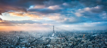 Paris Skyline Panorama In Winter With View Of The Eiffel Tower At Sunset