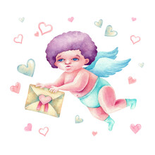 Nice Watercolor Cupid With Letter And Cute Pink And Blue Hearts All Around. Hand Drawn Card. Many Elements On White Background Isolated. Valentine`s Banner. Be Mine