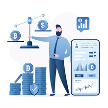 Businessman Invests In Bitcoin. Growth Of Bitcoin Rate, Earnings On Cryptocurrency. Mobile Trading Technology.