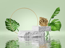 3d Render, Modern Premium Background. White And Gold Cobblestone Podium And Rock Platform, Green Tropical Leaves And Reflection In The Water. Abstract Showcase Scene For Product Presentation
