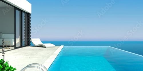 Sea modern villa with pool and sunbeds Fototapet