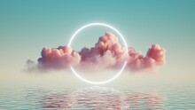 3d Render, Abstract Background With Pink Cloud Levitating Inside Bright Glowing Ring, Round Neon Frame, With Reflection In The Water. Minimal Futuristic Seascape