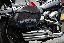 Nice Black Leather Bag On Motorcycle At Ukrainian Biker Club Crazy Hohols Opening Season 2016 Ukraine Kiev 09 April 2016
