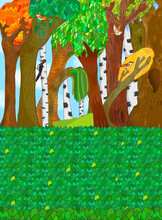 Fairytale Forest Or Park. Fabulous Background With Trees And Grass.  Landscape With Flower Meadow. Magic Garden.  Doodle Style Illustration. Wonderland