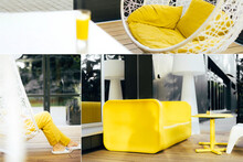 Collage Inspired By Trendy Colors Of Year 2021. Illuminating Yellow And Ultimate Gray Concept. Style Design Combination. Duotone. Color Psychology. Minimalistic Interior. Depression Treatment