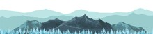 The Mountains. Mountain Range With Cliffs, Rocks And Peaks. Horizon. Landscape With Coniferous Forest, Taiga. Pine Trees, Ate. The Isolated Object On A White Background. Vector
