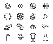 Simple Set Of Bicycle Spare Part Shop Related Vector Icon User Interface Graphic Design. Contains Such Icons As Frame, Tyre, Gear, Pedal, Saddle, Hear Shifter, Chain, Helmet, And Bicycle Suit