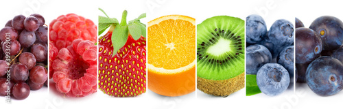 Fototapeta Fruits. Collage of mixed fruits. Food concept obraz