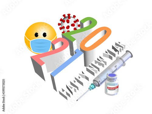 Fototapeta 3D illustration of 2021, Happy new year with concept of vaccination for Covid-19 pandemic  obraz