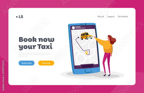 Fototapeta Tiny Female Character Order Taxi via Smartphone App Landing Page Template