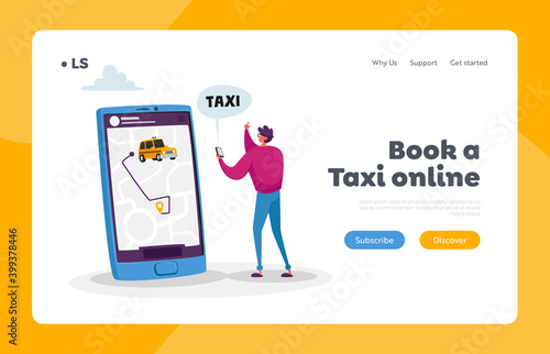 Fotografie, Obraz Man Using Application for Ordering Taxi Landing Page Template