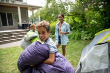 Boys Camping In Backyard