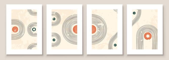 Abstract Illustration in Minimal Style for Wall Decoration Background. Mid century modern minimalist art print. Boho wall decor. Vector Illustration