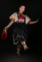 Young Beautiful Slovak Woman In Traditional Dress. Slovak Folklore