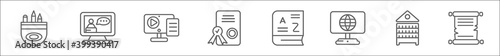 Fototapeta outline set of online learning line icons. linear vector icons such as pencil box, online training, blended learning, certificate, vocabulary, international, library, parchment obraz