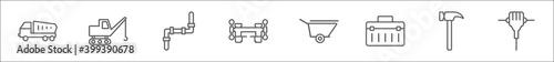 outline set of construction line icons Fototapete