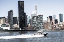 NYPD Cruising On The East River, New York City