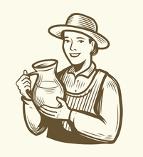Beautiful Young Woman With Jug Of Milk. Dairy Farm Sketch Vintage Vector