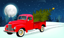 Red Old Pickup Truck With A Christmas Tree In The Back, In A Snowy Forest. Vector Image. Night Forest, Christmas Trees, Full Moon