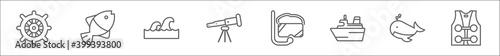 Valokuvatapetti outline set of nautical line icons