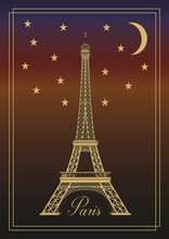 Eiffel Tower, Paris, France At Night. Vector Illustration. EPS10.