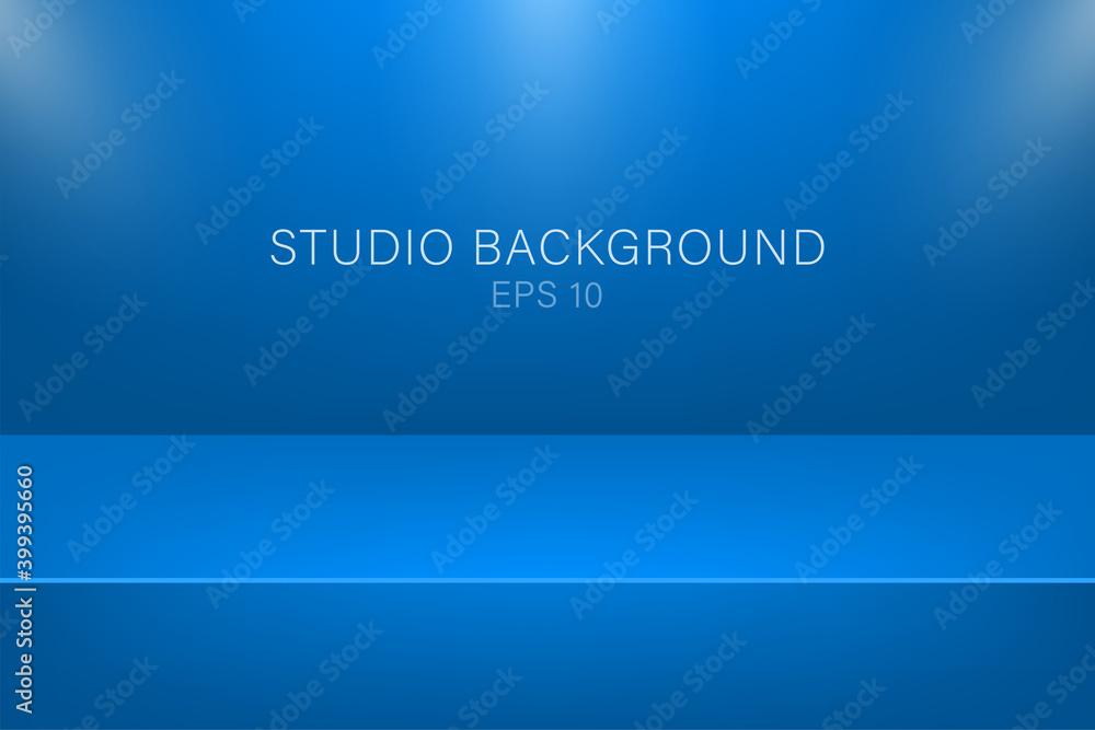 Fototapeta Modern studio background, great design for any purposes. Vector blue abstract background. 3d vector illustration.