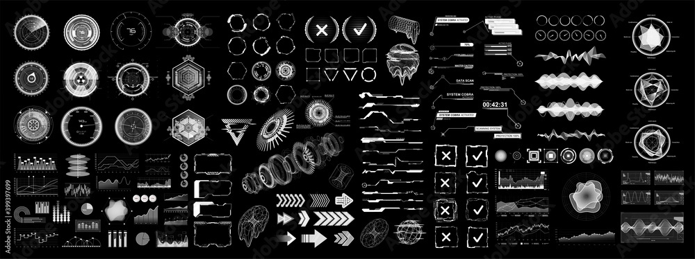 Fototapeta Futuristic digital collection HUD for UI, UX and GUI projects. Hi-tech design elements, charts, circle, callouts titles, gadgets, audio waves, graphics and other. HUD UI, VR vector elements.