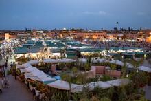 Marrakesh, Morroco, Africa - April 30, 2019: Jamaa El Fnaa By Night
