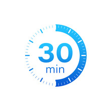 The 30 Minutes, Stopwatch Vector Icon. Stopwatch Icon In Flat Style On A White Background. Vector Stock Illustration.