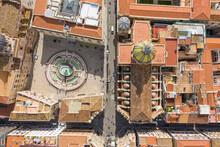 Aerial View Of Pretoria Fountain, Palermo, Sicily, Italy.