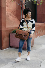 Mixed Race Woman Fashion Photos On Street With Briefcase
