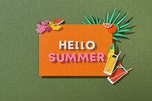 Word HELLO SUMMER With Leaves Fruits And Cocktail In Paper Cut Style