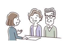 ベクターイラスト素材:シニア夫婦、窓口、接客、受付、対応