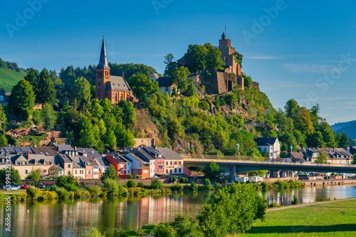 Saarburg panorama of old town on the hills in Saar river valley, Germany - fototapety na wymiar