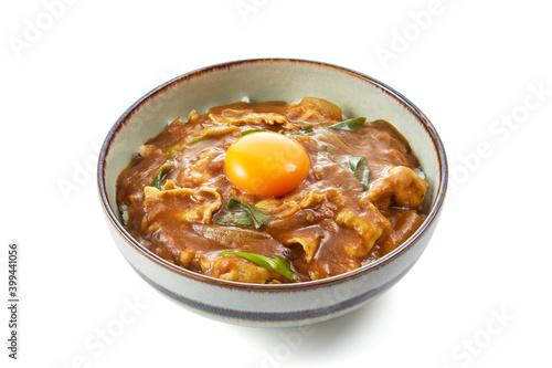 Fototapeta お出汁がきいたカレー丼 生卵のせ
